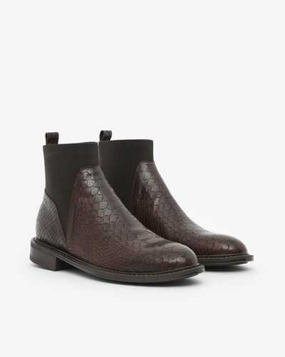 ANKLE BOOTS MESCALY/BOA, CHOCOLATE